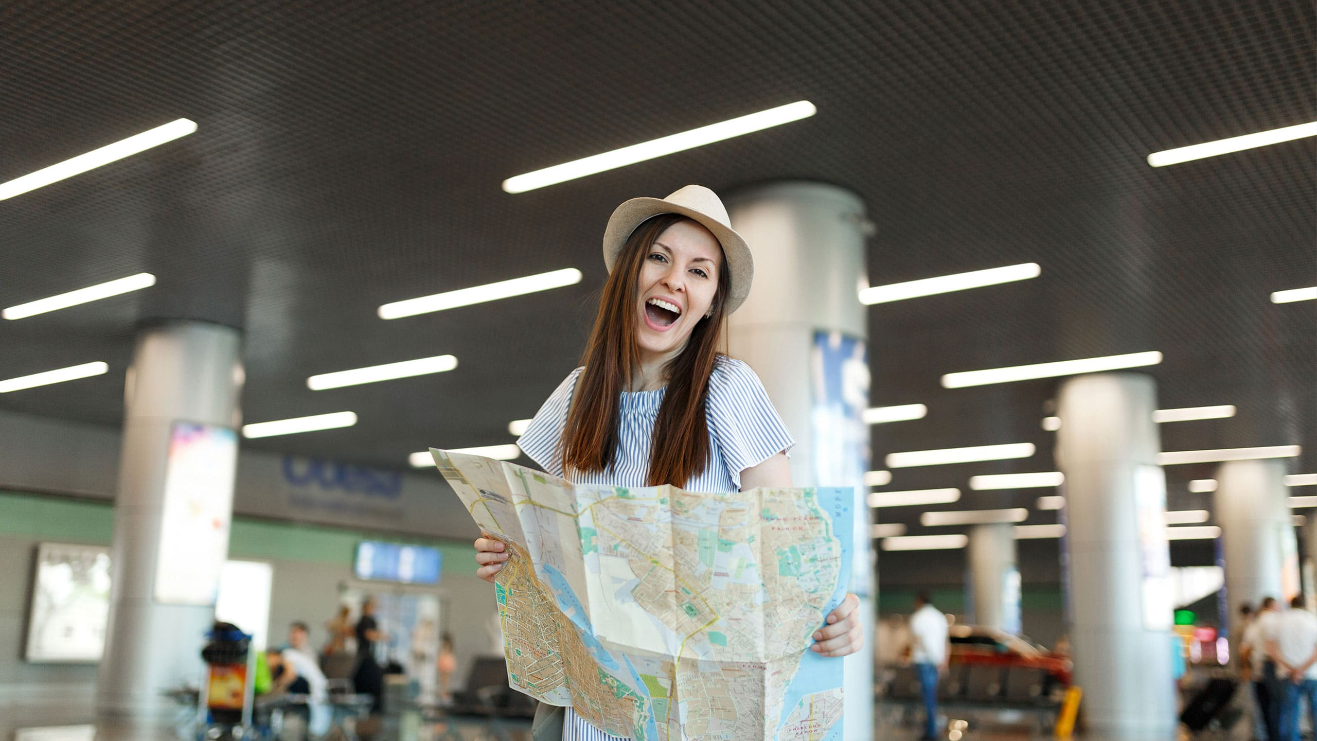 Travelling Foreigner with roadmap