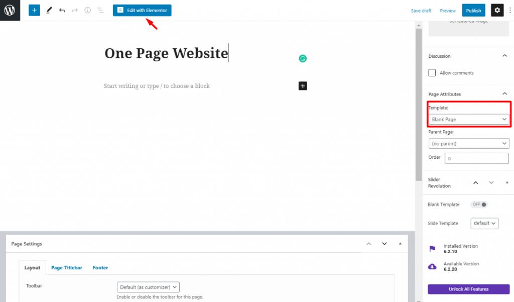 Single page website using Elementor & WordPress