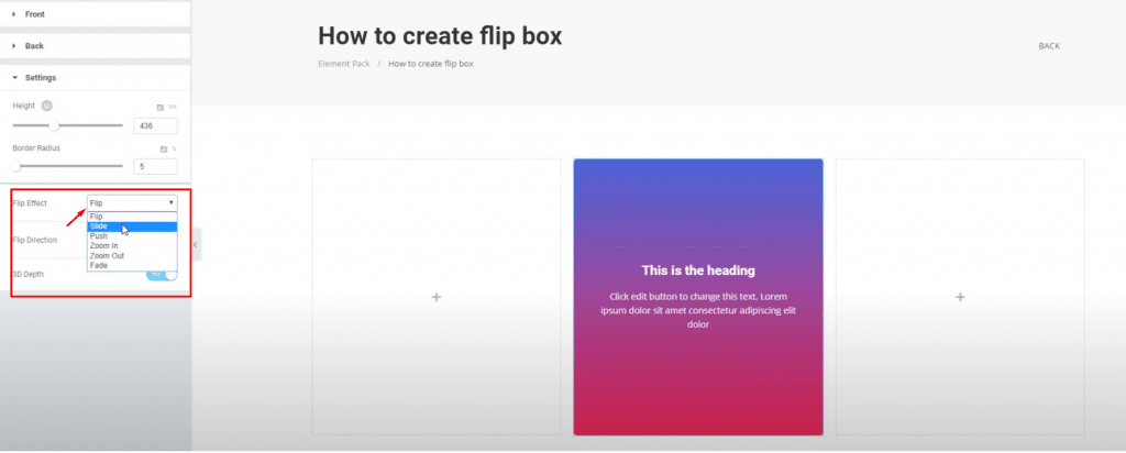 make a flip box using elementor
