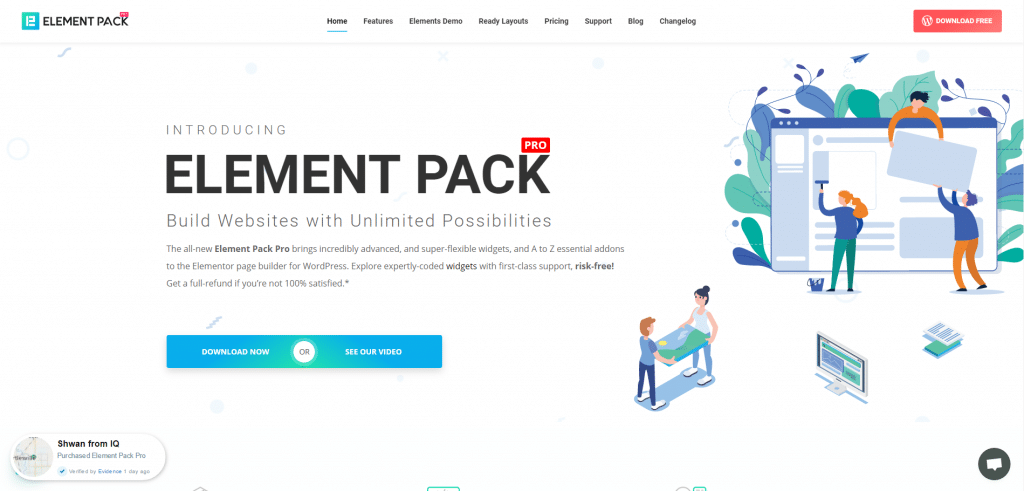 Element Pack - single page website using Elementor & WordPress